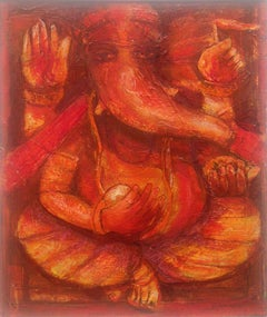 "Ganesha, Mythology, Hindu God, Acrylic on canvas, Red by Indian Artist""In Stock"""