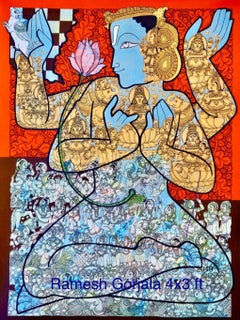 "Vishnu, God, Mythology, Acrylic on Canvas, Blue, Red by Indian Artist ""In Stock"""
