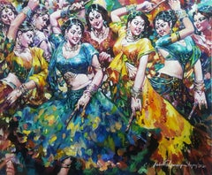 """Dandia Raas, Festival, Acrylic on Canvas, Blue,Yellow by Indian Artist""""In Stock"""""""