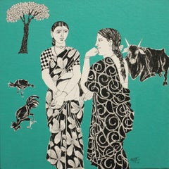 "Village Women, Gossip, Acrylic on Canvas, Red by South Indian Artist ""In Stock"""