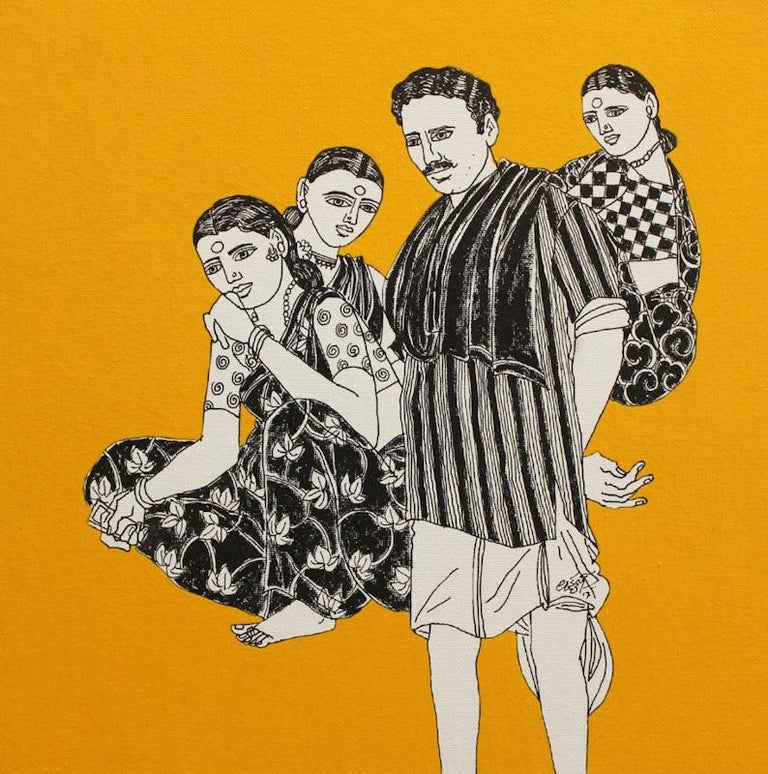 """Laxman Aeley Portrait Painting - Woman in Saree, Men in Dhotis, Indian Village Acrylic, Ink On Canvas """"In Stock"""""""