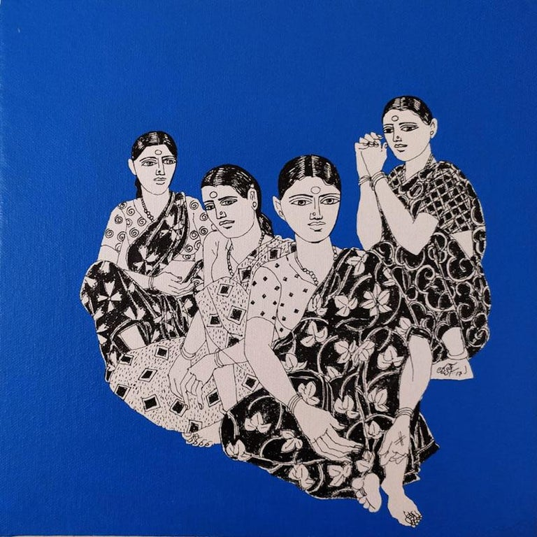 "Laxman Aeley Portrait Painting - Women in Saree, Indian Village,  Acrylic Ink On Canvas, Blue & Black  ""In Stock"""