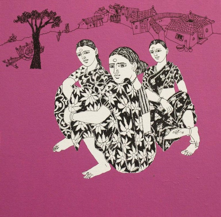 "Laxman Aeley Portrait Painting - Women in Saree, Indian Village,  Acrylic Ink On Canvas, Pink & Black  ""In Stock"""