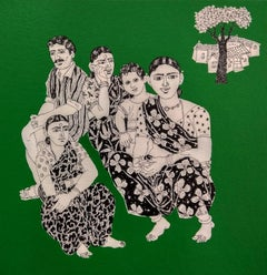 "Indian Village People, Acrylic Ink On Canvas, Green White & Black  ""In Stock"""