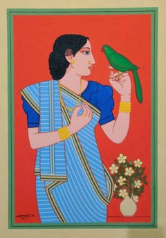 """Indian Bengali Woman in a Saree with Flowers, Tempera ,Red Color """"In Stock"""""""