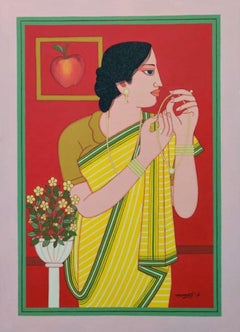 "Indian Bengali Woman in a Saree with Flowers, Tempera ,Red Color ""In Stock"""
