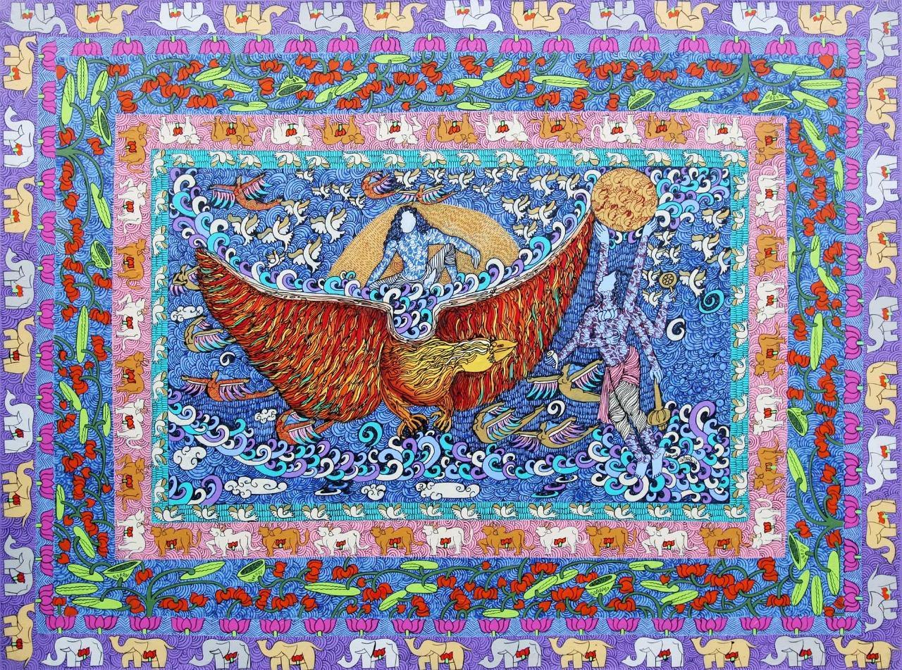 "Garuda, God Vishnu's Vahan ,Acrylic, Ink, Gold & Silver leaf 24 crt,  ""In Stock"""