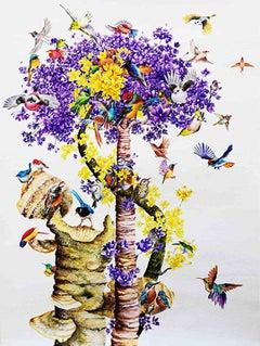 Birds & Trees, Landscape, Watercolour on Paper , Purple , Yellow , Brown Colors