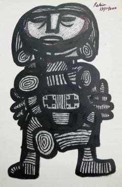 """Figurative, Acrylic on Paper, Black & White by Modern Indian Artist """"In Stock"""""""