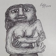 "Woman, Figurative, Drawing, Ink on Board by Indian Modern Artist ""In Stock"""