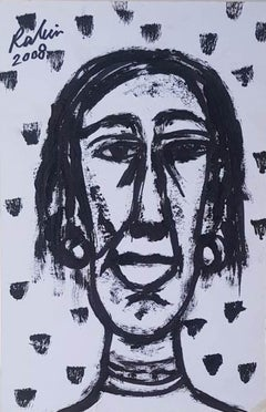 """Figurative, Acrylic on Board, Black & White by Indian Modern Artist """"In Stock"""""""