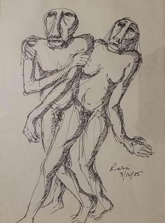 """Lover, Figurative, Ink on Paper by Indian Modern Artist Rabin Mondal """"In Stock"""""""