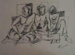 """Composition 6, Ink on Paper, Black & White by Indian Modern Artist """"In Stock"""""""