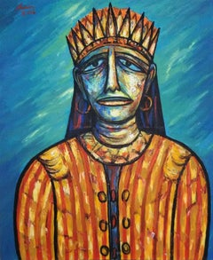 """King, Acrylic on Canvas, Blue, Brown, Yellow by Indian Modern Artist """"In Stock"""""""