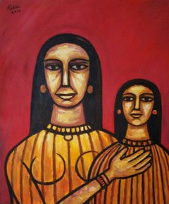 "Women, Acrylic on Canvas, Red, Yellow, Brown by Indian Modern Artist ""In Stock"""