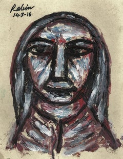 """Lady, Acrylic on Board, Brown, Red, Blue by Indian Modern Artist """"In Stock"""""""