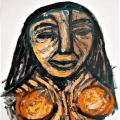 "Torso, Mixed Media on Paper, Brown, Yellow by Indian Modern Artist ""In Stock"""