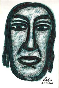 "Head, Mixed Media on Paper, Brown, Black by Indian Modern Artist ""In Stock"""