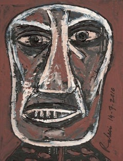 """Head, Acrylic on Board, Brown, White by Indian Modern Artist """"In Stock"""""""