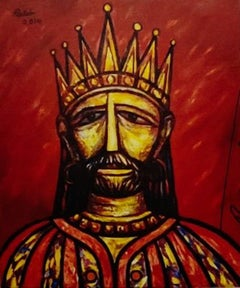"""King, Acrylic on Canvas, Red by Indian Modern Artist Rabin Mondal """"In Stock"""""""