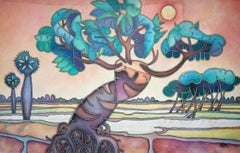 "Landscape, Acrylic on Canvas, Blue, Green, Brown, Bengal Master Artist""In Stock"""