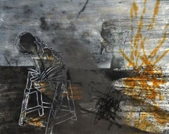 """Figurative, Acrylic on Canvas, Black, Brown, Grey by Indian Artist """"In Stock"""""""