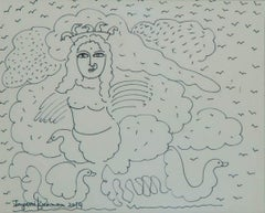 "Woman, Ceremonial bird, Ink on Paper by Indian Contemporary Artist ""In Stock"""