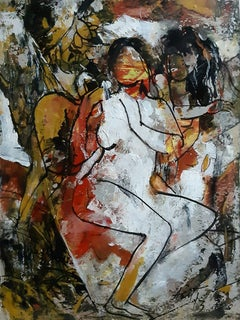 """Nude Women, Acrylic on Canvas, Red, Yellow, Brown, Contemporary Artist""""In Stock"""""""