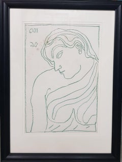 "Woman, Nude, Drawing, Colour Pastel on paper by Modern Indian Artist ""In Stock"""