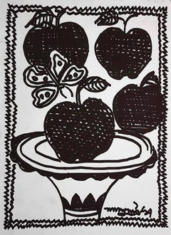 "Still Life, Apples, Drawings, Ink on paper by Modern Indian Artist ""In Stock"""