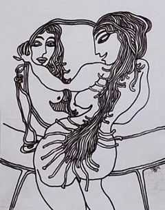 """Woman in front of Mirror, Nude, Ink on paper by Modern Indian Artist """"In Stock"""""""