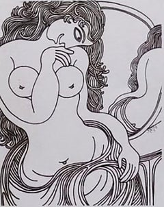 "Woman & the Mirror, Nude, Marker on paper by Modern Indian Artist ""In Stock"""