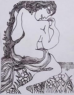 """Nude Woman at Garden, Drawings, Ink on paper by Modern Indian Artist """"In Stock"""""""