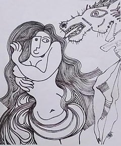 "Woman with Horse, Nude, Ink on paper by Modern Indian Artist ""In Stock"""