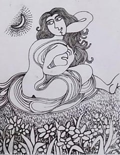 """Woman seated in Garden, Nude, Ink on paper by Modern Indian Artist """"In Stock"""""""