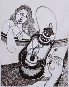 "Woman with Lantern, Drawings, Ink on paper by Modern Indian Artist ""In Stock"""