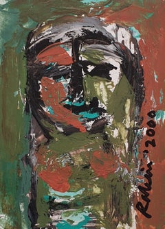 "Face, Acrylic on Board, Brown, Green by Indian Modern Artist ""In Stock"""