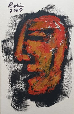 "Man, Face, Acrylic on Board, Brown, Red, Yellow, Indian Modern Artist ""In Stock"""
