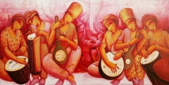 """Musicians, Acrylic on Canvas, Red, Yellow, Pink by Contemporary Artist""""In Stock"""""""