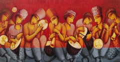 """Musicians, Playing Drums,Acrylic on Canvas, Red, Yellow, Indian Artist""""In Stock"""""""