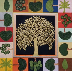 "The Tree, Gouache & Gold Leaf on Paper, Green by Contemporary Artist ""In Stock"""