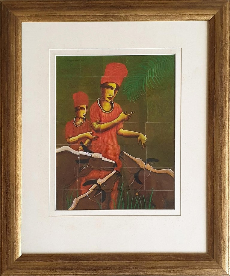 """Samir Sarkar Figurative Painting - Cow Trainers, Acrylic on Stripped Board, Red by Contemporary Artist """"In Stock"""""""