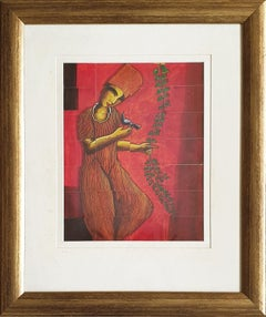 """Decorator, Acrylic on Stripped Board, Red, Green, Contemporary Artist """"In Stock"""""""