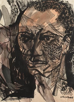"Transformed faces III, Ink & Mixed Media on paper, Contemporary Artist""In Stock"""