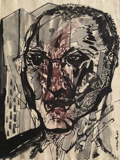 "Transformed faces II, Ink & Mixed Media on paper, Contemporary Artist ""In Stock"""