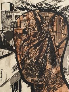 "Head & Landscape IV, Ink & Mixed Media on paper, Black Brown color  ""In Stock"""