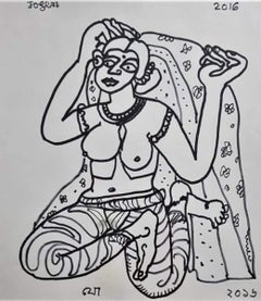 """Woman, Nude, Drawing, Ink on Paper by Modern Indian Artist """"In Stock"""""""