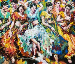 "Dandia Raas, Festival, Acrylic on Canvas by Contemporary Artist ""In Stock"""