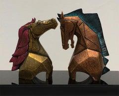"Caressing - 6, Horses, Fibre Glass, Blue, Gold, Contemporary Artist ""In Stock"""