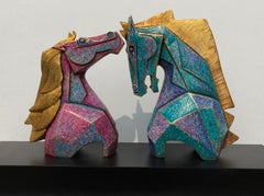 """Caressing, Horses, Fibre Glass, Blue, Gold, Brown, Contemporary Artist""""In Stock"""""""